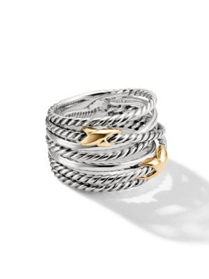 Double X Crossover Ring With Gold in Silver/Gold