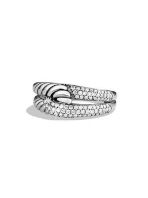Labyrinth Single-Loop Ring With Diamonds in Silver