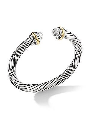 David Yurman Silver Ice Pavé Diamond Cable Bracelet