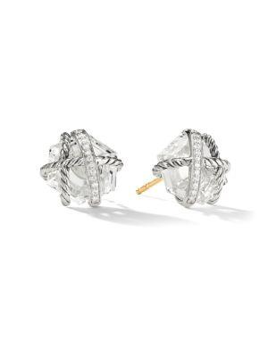 David Yurman Cable Wrap Earrings With Diamonds In Crystal