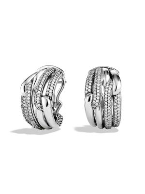Labyrinth Double-Loop Earrings With Diamonds in Silver