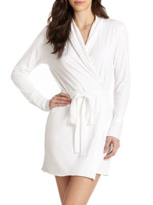 Skin Organic Cotton Towelling Dressing Gown In White Modesens