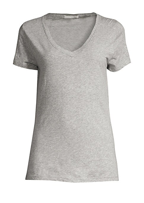 """Image of A soft layering essential of supima cotton designed with a flirty v-neck.V-neck. Short sleeves. About 26"""" from shoulder to hem. Supima cotton. Hand wash. Imported."""