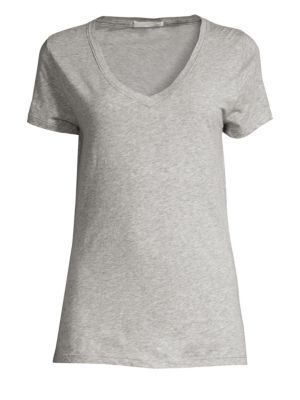 "Image of A soft layering essential of supima cotton designed with a flirty v-neck.V-neck. Short sleeves. About 26"" from shoulder to hem. Supima cotton. Hand wash. Imported."