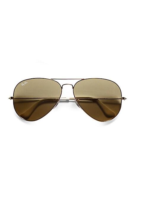 Gold Brown Aviator Sunglasses |