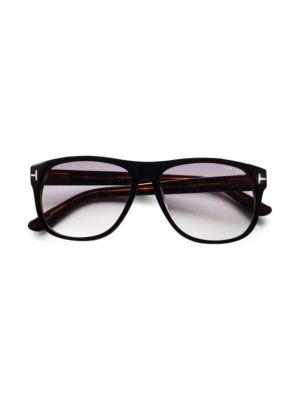 Olivier Oversized Square Acetate Sunglasses, Black