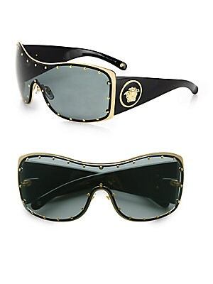 75c2d7d6a0 Versace - Rock Icon Medusa Studded Shield Sunglasses - saks.com