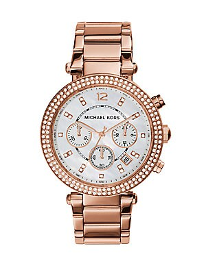 adcb9e6204a Michael Kors - Parker Pavé Mother-Of-Pearl   Rose Goldtone Stainless Steel  Chronograph