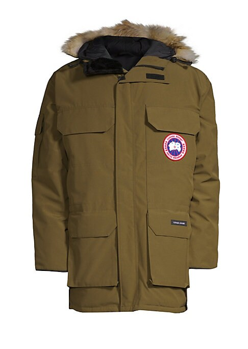 Image of Advanced outerwear style fleece-lined chin guard, pockets and an insulated windguard for maximum warmth and protection. Coyote fur-trimmed adjustable tunnel hood. Two-way locking zip front. Covered storm placket. Velcro? flap chest pockets. Waist flap poc