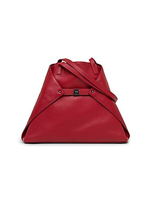 """Image of A center turn-lock buckle closure cinches this fold-over trapezoid shape made of ultra-soft leather. Shoulder straps, 11½"""" drop Versatile turn-lock buckle closure, can be tucked into bag for a tote silhouette Protective metal feet One interior zip"""