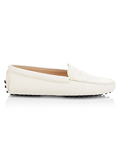 Pebbled Penny-Front Gommini Moccasin, White in Ivory And Cracked Metallic-Gold