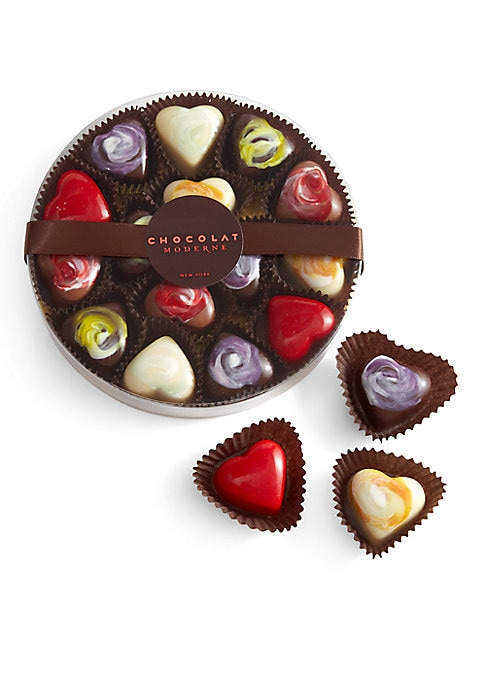 Image of EXCLUSIVELY AT SAKS FIFTH AVENUE. Dazzlingly colorful hand-painted hearts with sumptuous fillings from an award-winning local New York chocolatier. Includes 15 chocolate hearts: Dark, white and milk chocolate hand-painted with color from natural sources a
