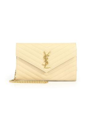 Saint Laurent Medium Monogram MatelassÉ Leather Wallet-On-Chain In Nude