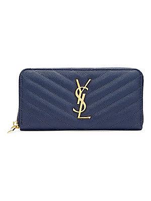 b82174c6594c5 Saint Laurent - Monogram Compact Zip-Around Leather Wallet - saks.com