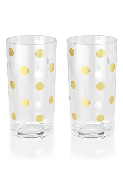 Image of These whimsical highball glasses are designed with a black tie affair in mind and feature a metallic dot motif for instant sophistication to any drink you serve up. Set of 2.16 oz. capacity. Acrylic. Hand wash. Imported.
