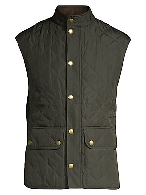 "Image of A sporty, sleeveless vest is carefully crafted with a quilted finish, adding a refined, tailored aesthetic Sleeveless Concealed front zip with snap closure Buttoned waist flap pockets Lined About 27"" from shoulder to hem Polyamide Machine wash Imported. M"