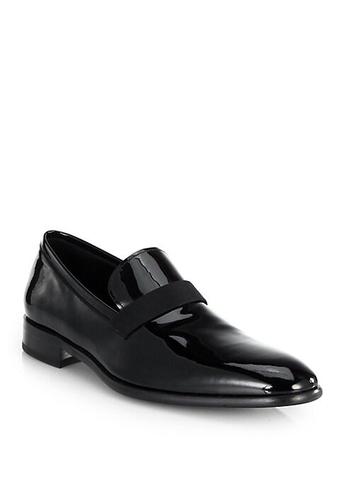 Image of Grosgrain trim dresses up this streamlined patent loafer, a sophisticated take on a classic style. .Patent leather upper. Leather lining and sole. Padded insole. Made in Italy.