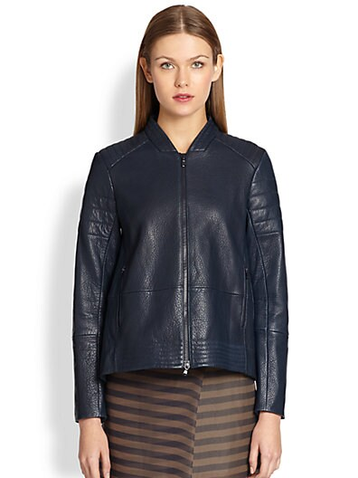 Brunello Cucinelli Hammered Leather Moto Jacket   Galaxy