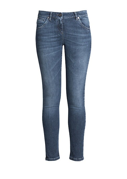"Image of A classic skinny-leg silhouette, cut from soft stretch denim in the perfect wash. .Belt loops. Zip fly with button closure. Five-pocket style. Rise, about 8"".Inseam, about 27"".Cotton/elastane. Dry clean. Made in Italy."