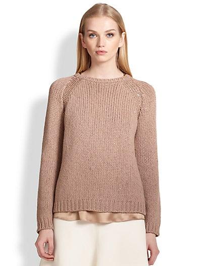 Brunello Cucinelli Cashmere & Silk Sequin Sweater   Biscotti