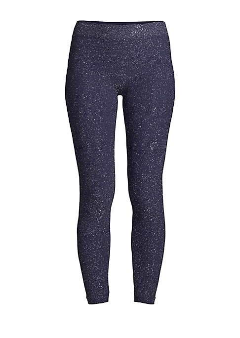 "Image of Shimmering glitter dresses up these classic second-skin leggings. Elasticized banded waist. Pull-on style. Rise, about 10"".Inseam, about 18"".Nylon/spandex. Machine wash. Made in USA."