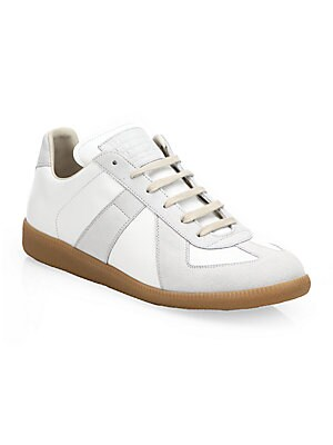 Leather & Suede Low Top Sneakers by Maison Margiela