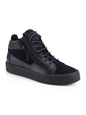 2abe76a39602c Giuseppe Zanotti - Suede Mid Top Double Zip Sneakers - saks.com