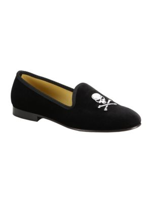 DEL TORO Velvet Skull Slip-On Loafers Ptr97BzmWc
