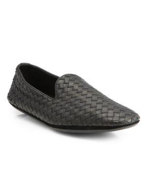 Fiandra Intrecciato Foulard Leather Slippers, Black