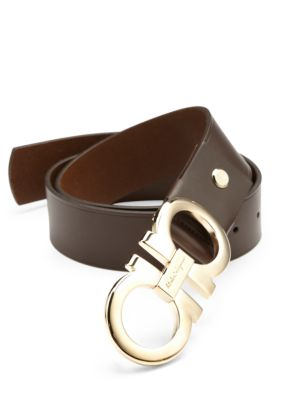 Double Gancini Adjustable Leather Belt by Salvatore Ferragamo
