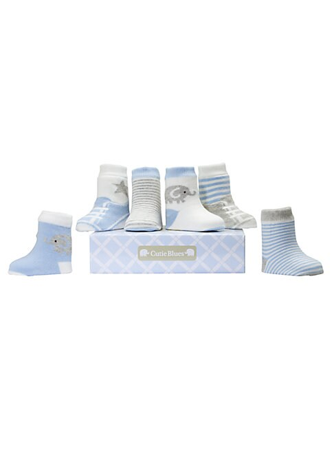 Image of Six pairs of textured and printed socks with a ribbed cuff, packaged in a sweet gift box. Ribbed cuffs. Organic cotton/nylon/spandex. Machine wash. Imported.