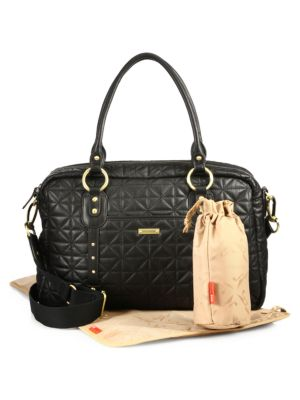 STORKSAK Elizabeth Quilted Diaper Bag in Black