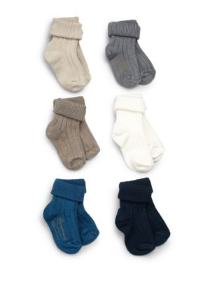 Image of Little feet will be toasty and sweet in this seven-pack ribbed cotton sock set featuring signature goldtone logo print. Includes 7 pairs of socks. Ribbed cuffs. Cotton. Machine wash. Made in France.