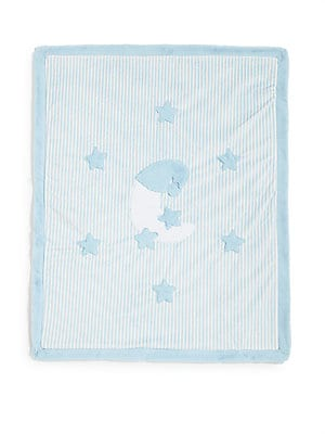 "Image of Plush, celestial motifs on a cozy blanket 30.5""W X 37""L Striped at one side Solid at back Polyester Machine wash Made in USA. Children's Wear - Layette Apparel And Acce. Boogie Baby. Color: Blue."