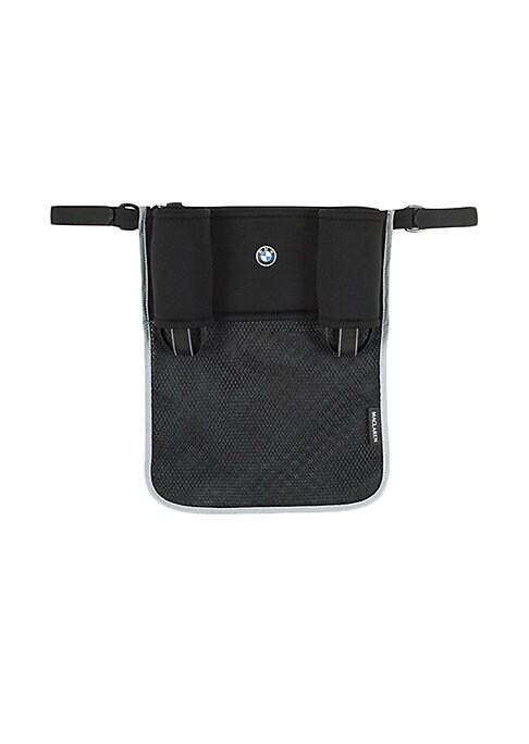 Image of Attach this thoughtfully-designed bag to your stroller to hold and organize all your essentials in BMW style. Sturdy neoprene pockets hold 2 bottles. Easy-access center pocket for wallet, keys or phone storage. Expandable mesh pouch. .Attaches easily with