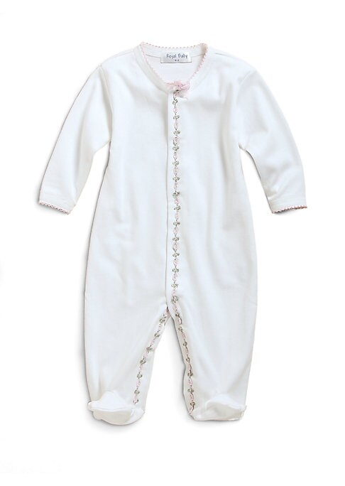 Image of The softest cotton one-piece, with attached feet and charming floral vine trim. Snap closures. Long sleeves. Picot edging. Machine wash. Cotton. Imported.