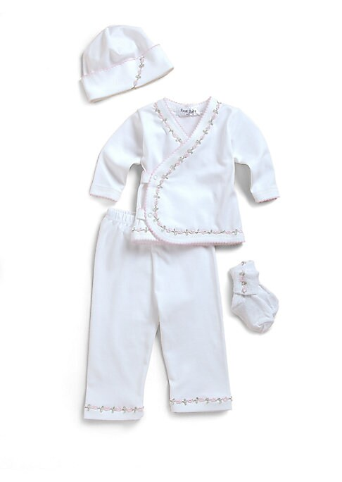 Image of The perfect take-home set in ultra-soft cotton, adorned with the sweetest floral vine trim. Hat with picot trim. Wrap-front long sleeved tee with scalloped trim and snap closures. Elastic waist pants. Cuffed socks. Machine wash. Cotton. Imported.