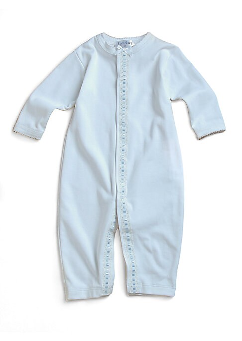 Image of The softest cotton one-piece, decorated with adorable blue dot trim. Snap closures. Long sleeves. Picot edging. Machine wash. Pima cotton. Imported.