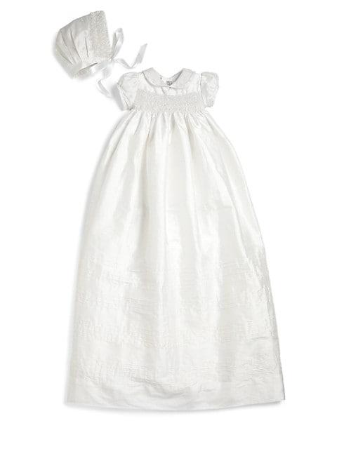 Baby's 2-Piece Silk Pearls Christening Gown & Bonnet Set