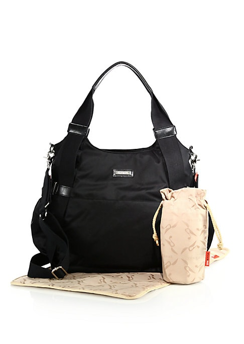 """Image of A modern and practical tote made from hardwearing nylon, reinforced with contrast webbed shoulder straps for a casual touch. Includes a thermo insulated bottle holder, padded changing mat and built-in stroller straps. Double shoulder straps, 10"""" drop. Det"""