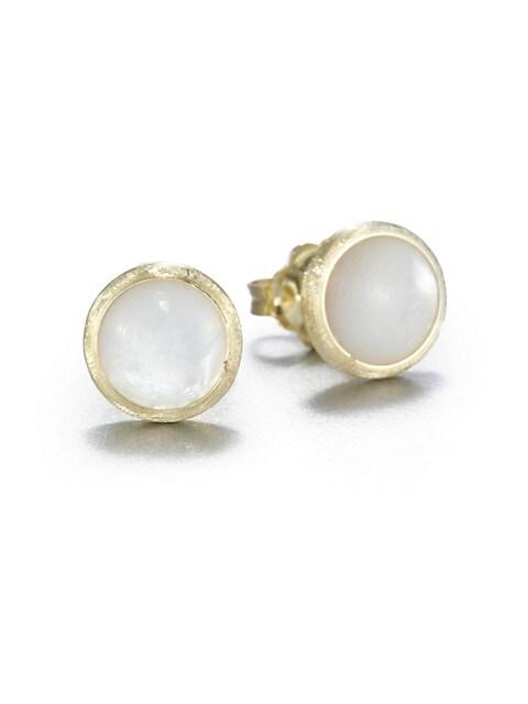 Jaipur Resort Mother-Of-Pearl & 18K Yellow Gold Stud Earrings