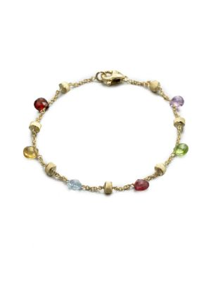 Image of From the Paradise Collection. A colorful blend of semi-precious stones on a delicate link chain with hand-engraved, 18k gold stations. .May include amethyst, light amethyst, green amethyst, iolite, garnet, green garnet, orange garnet, tourmalines, citrine