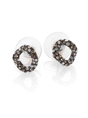 Elements Jardin De Papillon Crystal Link Stud Earrings / Gunmetal