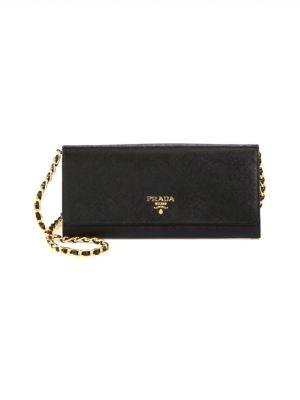 ce4b5631e110 Prada Saffiano Leather Chain Wallet In Black   ModeSens