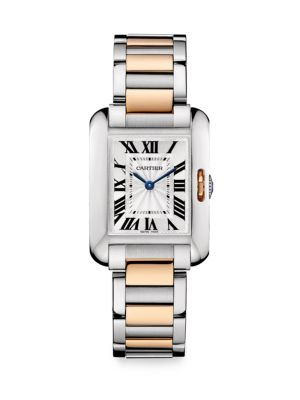 Cartier Tank Anglaise Small 18K Pink Gold & Stainless Steel Bracelet Watch
