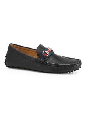 Web Horsebit Driving Loafers in Black