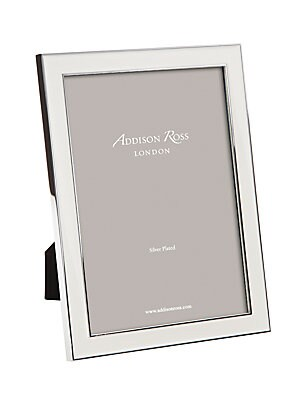 """Image of Enamel picture frame with modern striking trim. Accommodates a 4""""W x 6""""H photograph Overall: 5.5""""W x 7.5""""H x 1""""D Silver-plated zinc/enamel Spot clean Imported. Gifts - Frames And Leather Acces. Addison Ross. Size: 4 X 6."""