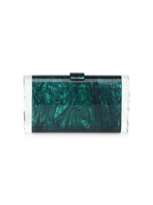 Edie Parker Lara Backlit Acrylic Clutch Bag, Green