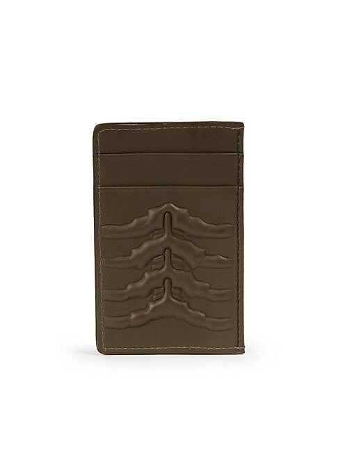 """Image of A cool, yet compact card holder of Italian leather with an exterior rib-cage pattern. .Four card slots. Leather.4""""W x 3""""H.Made in Italy."""