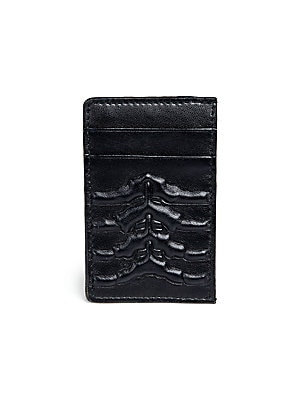 """Image of A cool, yet compact card holder of Italian leather with an exterior rib-cage pattern. Four card slots Leather 4""""W x 3""""H Made in Italy. Men Accessories - Leather Goods > Saks Fifth Avenue. Alexander McQueen. Color: Black."""